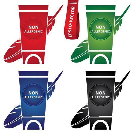 carcinogen: Vector: Belleza y Moda Concepto Presente por Loci�n colorido y crema Envase Con hipoalerg�nicas Texto y hipoalerg�nica signo aislado sobre fondo blanco Vectores