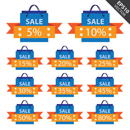 closeout: Vector : Promotional Sale Labels Set, Present By Blue Sale Shopping Bag With Blue 5-80 Percent Discount Ribbon Isolated on White Background