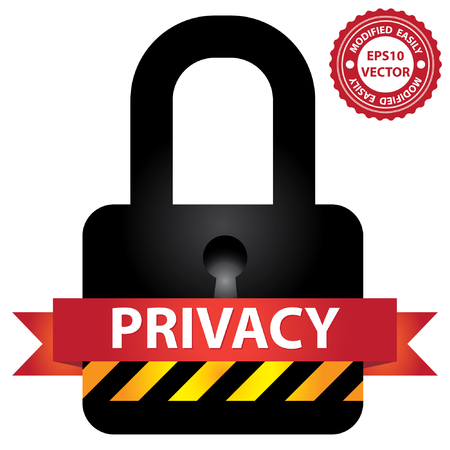 secret privacy: Vector : Network Security, Privacy or Top Secret Concept Present By Black Glossy Style Master Key or Lock Icon With Red Privacy Ribbon Isolated on White Background