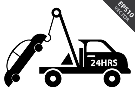 the wrecker: Vector : Business and Service Concept Present By Black Glossy Style 24HRS Tow Car Sign Isolated on White Background Illustration