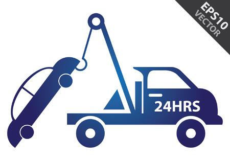 ベクトル: ビジネスとサービスの概念現在の青い光沢のあるスタイルの 24 時間でレッカー車の記号が白い背景で隔離  イラスト・ベクター素材