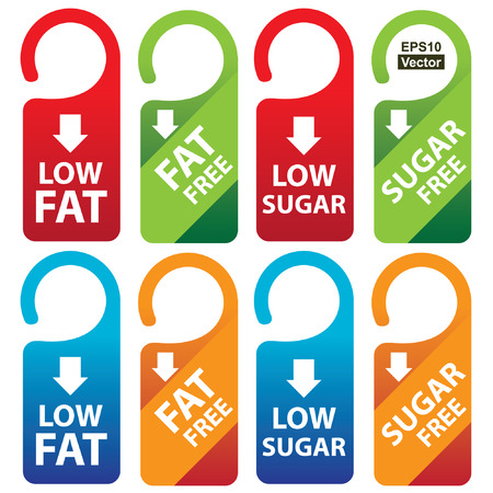 low cal: Vector : Marketing Materials For Healthy Food or Dietary Concept Present By Red, Green, Blue and Orange Low Fat, Fat Free, Low Sugar and Sugar Free Tag Isolated on White Background