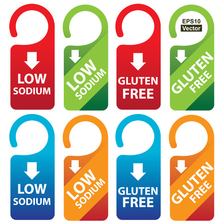 salt free: Vector : Marketing Materials For Healthy Food or Dietary Concept Present By Red, Green, Blue and Orange Low Sodium and Gluten Free Tag Isolated on White Background
