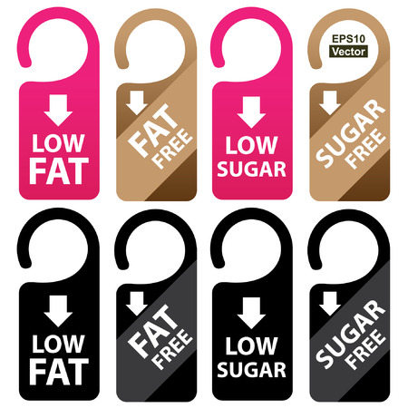 low cal: Vector : Marketing Materials For Healthy Food or Dietary Concept Present By Pink, Brown and Black Low Fat, Fat Free, Low Sugar and Sugar Free Tag Isolated on White Background Illustration