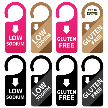 salt free: Vector : Marketing Materials For Healthy Food or Dietary Concept Present By Pink, Brown and Black Low Sodium and Gluten Free Tag Isolated on White Background