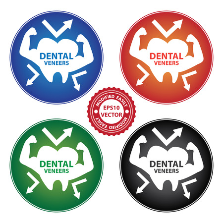 resin: Vector : Healthcare and Medical Concept Present By Colorful Dental Veneers Icon Isolated on White Background