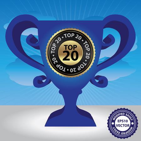 special education: Vector: Gr�fico para la campa�a de marketing, promoci�n o concepto de negocio Presente Por Blue Glossy Estilo trofeo de la Copa de Oro Con Top 20 Insignia en cielo azul de fondo Vectores