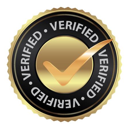 Tag, sticker, label of badge voor productcertificatie of Productkeuring Present Door Gouden Verified Icoon Met Vinkje teken binnen geïsoleerd op witte achtergrond Stockfoto - 34688953
