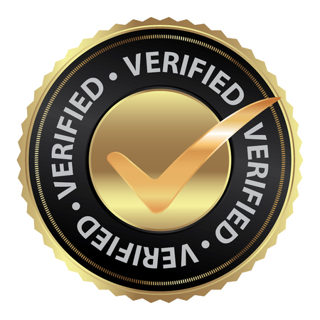 verification: Tag, Sticker, Label or Badge For Product Certification or Product Verification Present By Golden Verified Icon With Check Mark Sign Inside Isolated on White Background
