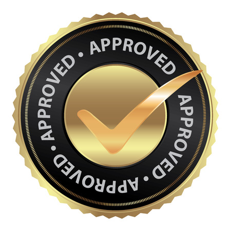 acception: Tag, Sticker, Label or Badge For Product Certification or Product Verification Present By Golden Approved Icon With Check Mark Sign Inside Isolated on White Background Stock Photo