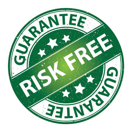 risk free: Quality Management Systems, Quality Assurance and Quality Control Concept Present By Risk Free Label on Green Grunge Glossy Style Icon With Guarantee Text Around Isolated on White Background Stock Photo