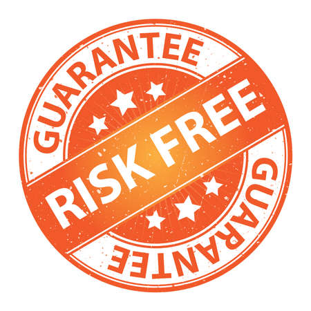 assure: Quality Management Systems, Quality Assurance and Quality Control Concept Present By Risk Free Label on Orange Grunge Glossy Style Icon With Guarantee Text Around Isolated on White Background Stock Photo