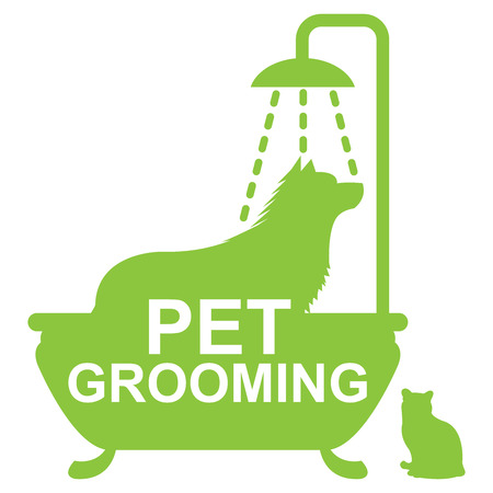 cat grooming: Graphic For Pet Business Present by Green Pet Grooming Sign With Dog Shower in The Bathtub and Cat Sign Isolated On White Background Stock Photo
