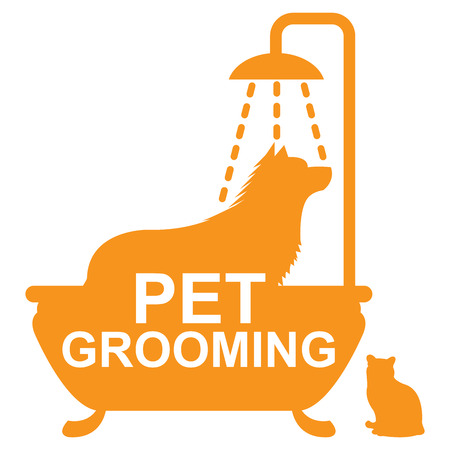 cat grooming: Graphic For Pet Business Present by Orange Pet Grooming Sign With Dog Shower in The Bathtub and Cat Sign Isolated On White Background