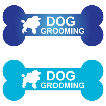 white dog: Graphic For Pet Business Present by Blue Dog Grooming Sign With Poodle Dog Sign Isolated On White Background Stock Photo
