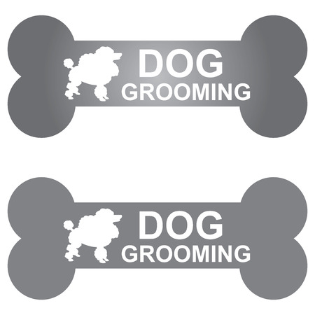body grooming: Graphic For Pet Business Present by Gray Dog Grooming Sign With Poodle Dog Sign Isolated On White Background