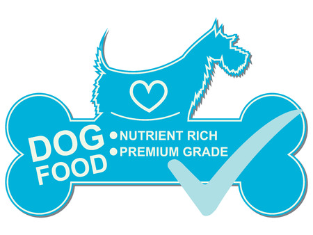 dog biscuit: Graphic For Pet Business Present by Dog Food Text, Nutrient Rich and Premium Grade on Blue Dog Food Sign With Check Mark Isolated On White Background Stock Photo