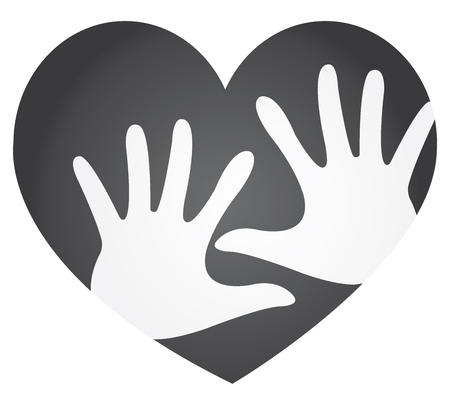 participate: Volunteer, Charity or Donation Concept Present By Black Heart With White Hand Inside Isolated On White Background