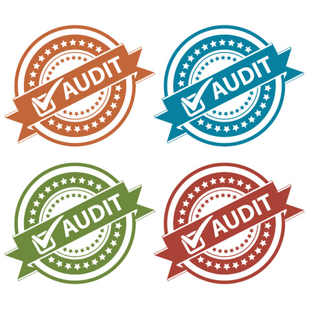 verification: Tag, Sticker, Label or Badge For Product Certification or Product Verification Present By Colorful Audit Ribbon With Check Mark Sign on Colorful Icon Isolated on White Background