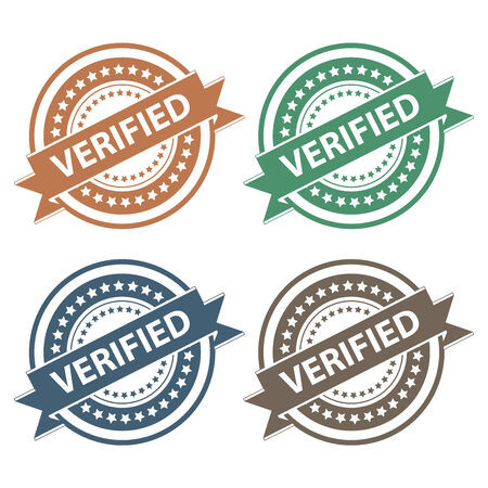 acception: Tag, Sticker, Label or Badge For Product Certification or Product Verification Present By Colorful Verified Ribbon on Colorful Icon Isolated on White Background Stock Photo