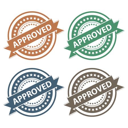 proved: Tag, Sticker, Label o badge per certificazione di prodotto o di verifica di prodotto presenti nastro colorato Approvato il Icon colorati isolato su sfondo bianco