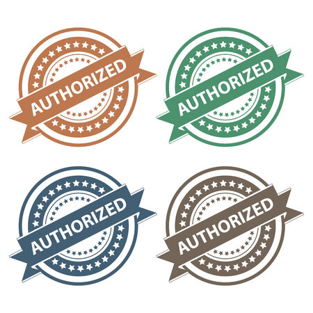 verification: Tag, Sticker, Label or Badge For Product Certification or Product Verification Present By Colorful Authorized Ribbon on Colorful Icon Isolated on White Background