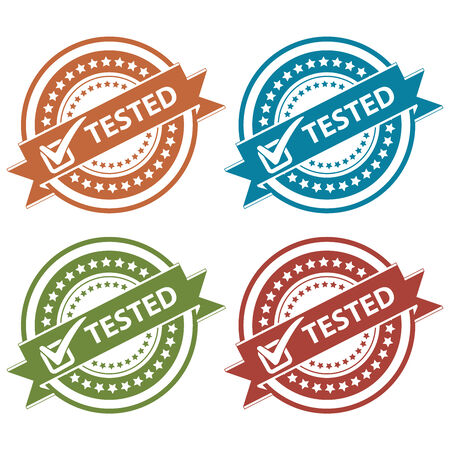 tested: Tag, Sticker, Label or Badge For Product Certification or Product Verification Present By Colorful Tested Ribbon With Check Mark Sign on Colorful Icon Isolated on White Background Stock Photo