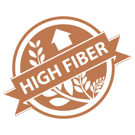 product healthy: Brown Tag, Sticker, Label or Badge For Healthy Product or Product Information Present By High Fiber Ribbon With Crop, Cereal or Grain Sign Isolated on White Background