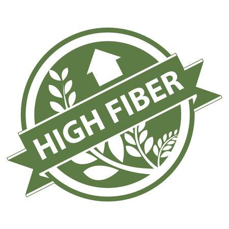 product healthy: Verde Tag, Sticker, Label o badge per prodotto sano o Informazioni sul prodotto presenti Nastro alta fibra con la coltura, cereali o grano segno isolato su sfondo bianco