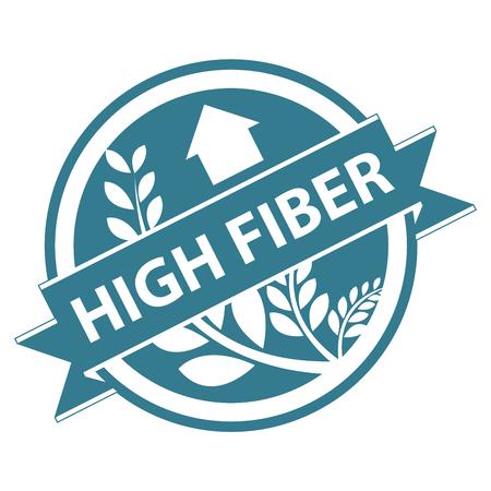 product healthy: Blu Tag, autoadesivo, etichetta o badge per prodotto sano o Informazioni sui prodotti presenti Nastro ricca di fibre con la coltura, cereali o grano segno isolato su sfondo bianco