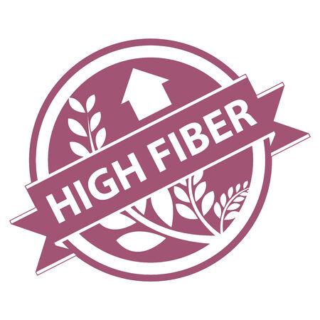 product healthy: Rosa Tag, Sticker, Label o badge per prodotto sano o Informazioni sul prodotto presenti Nastro alta fibra con la coltura, cereali o grano segno isolato su sfondo bianco