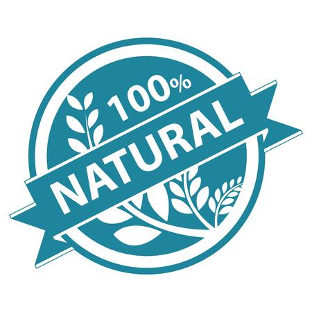 product healthy: Blu Tag, Sticker, Label o badge per prodotto sano o Informazioni sul prodotto Presente del 100 per cento e il nastro naturale con la coltura, cereali o grano segno isolato su sfondo bianco