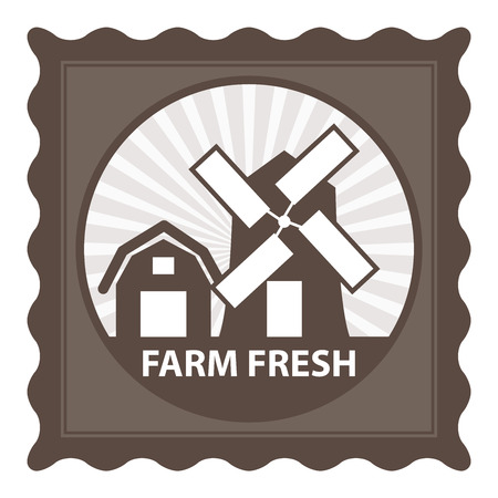 farm fresh: Healthy, Weight Loss, Diet or Fitness Product Present By Brown Stamp Tag, Sticker or Badge With Farm Fresh Text and Vintage Farm Barn Sign Isolated on White Background