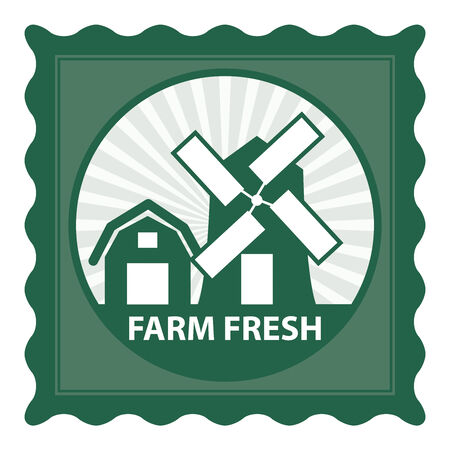 farm fresh: Healthy, Weight Loss, Diet or Fitness Product Present By Green Stamp Tag, Sticker or Badge With Farm Fresh Text and Vintage Farm Barn Sign Isolated on White Background Stock Photo