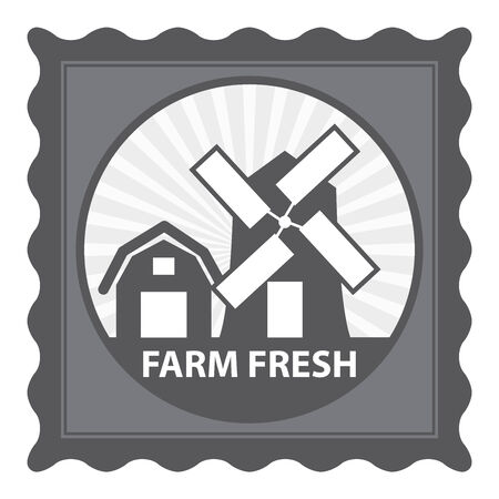 farm fresh: Healthy, Weight Loss, Diet or Fitness Product Present By Gray Stamp Tag, Sticker or Badge With Farm Fresh Text and Vintage Farm Barn Sign Isolated on White Background Stock Photo