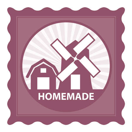 eco notice: Healthy, Weight Loss, Diet or Fitness Product Present By Pink Stamp Tag, Sticker or Badge With Homemade Text and Vintage Farm Barn Sign Isolated on White Background Stock Photo