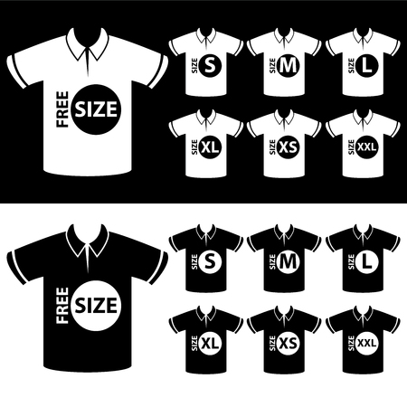 specification: Product Information or Product Specification Tag, Sticker, Label or Icon Present By Men Black and White Polo Shirt Tag Size Icon Isolated on White Background