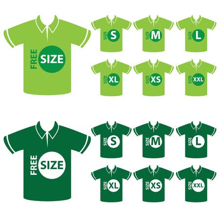 big size: Product Information or Product Specification Tag, Sticker, Label or Icon Present By Green Men Polo Shirt Tag Size Icon Isolated on White Background