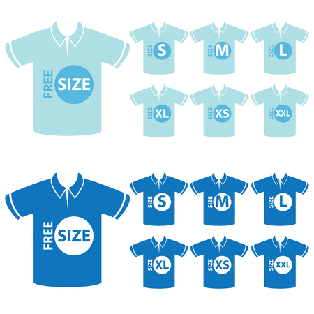 xs: Product Information or Product Specification Tag, Sticker, Label or Icon Present By Blue Men Polo Shirt Tag Size Icon Isolated on White Background