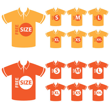 specification: Product Information or Product Specification Tag, Sticker, Label or Icon Present By Orange Men Polo Shirt Tag Size Icon Isolated on White Background Stock Photo