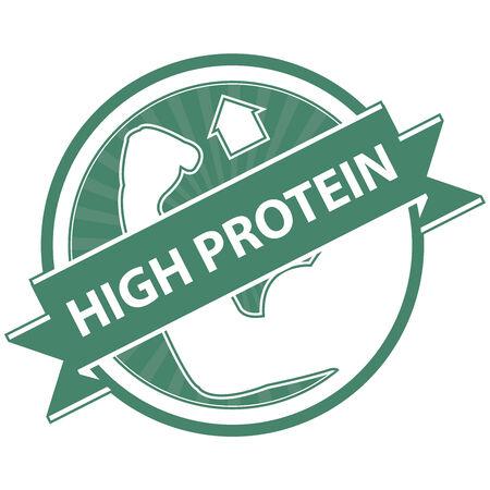 product healthy: Verde Tag, Sticker, Label o badge per prodotto sano o Informazioni sul prodotto Presente Per High Protein Ribbon Con High Protein segno isolato su sfondo bianco