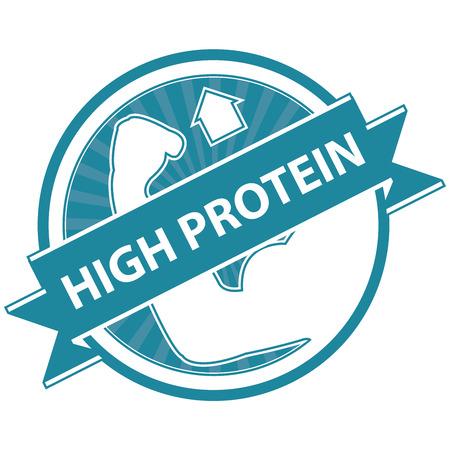 product healthy: Blu Tag, Sticker, Label o badge per prodotto sano o Informazioni sul prodotto Presente Per High Protein Ribbon Con High Protein segno isolato su sfondo bianco Archivio Fotografico