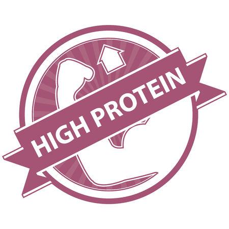product healthy: Rosa Tag, Sticker, Label o badge per prodotto sano o Informazioni sul prodotto Presente Per High Protein Ribbon Con High Protein segno isolato su sfondo bianco Archivio Fotografico