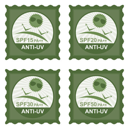 uv: Beauty, Fashion and Healthcare Concept Present by Green Stamp Tag, Sticker or Badge With SPF15 PA++ - SPF50 PA++ Anti-UV Text and Anti UV Sign Isolated on White Background