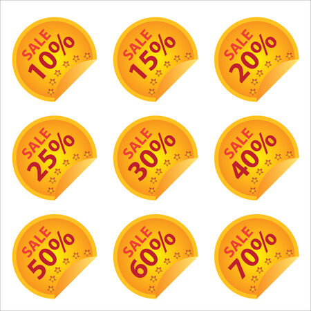 pricetag: Promotional Sale Labels Set, Present By Yellow Sale 10-70 Percent Price Tag Isolated on White Background