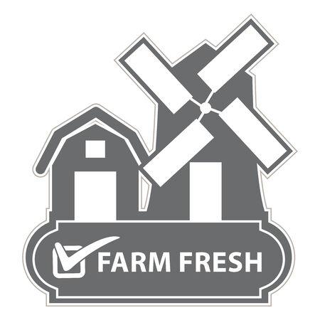 farm fresh: Campagna di marketing, promozione o Business Concept presenti grigio Vintage Style Farm, Fienile, Mulino a vento e Check Mark Segno Con Farm etichetta fresco isolato su sfondo bianco