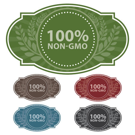 non vegetarian: Graphic or Marketing Material For Food, Restaurant or Cooking Business Present By Colorful Vintage Style 100 Percent Non-GMO Label or Sign in Brown Background