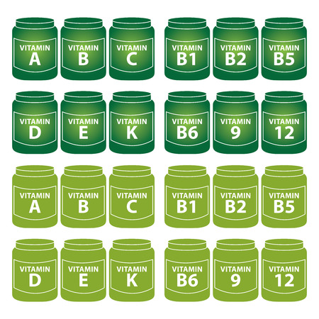 scientific farming: Healthcare and Medical Concept Present By Group Of Green Vitamin Container or Box With Vitamin A, B, C, D, E, K, B1, B2, B5, B6, B9 and B12 Inside Isolated on White Background