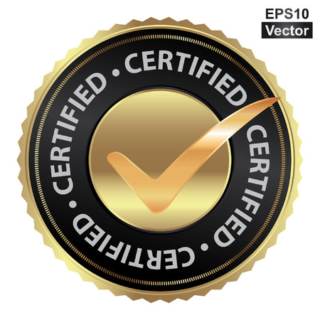 acception: Vector : Tag, Sticker, Label or Badge For Product Certification or Product Verification Present By Golden Certified Icon With Check Mark Sign Inside Isolated on White Background