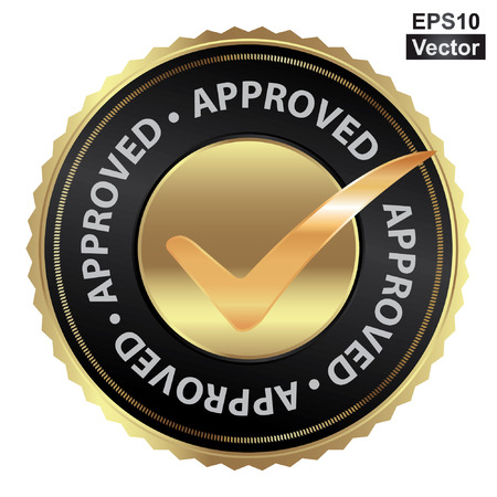 Vector : Tag, Sticker, Label or Badge For Product Certification or Product Verification Present By Golden Approved Icon With Check Mark Sign Inside Isolated on White Background Vettoriali